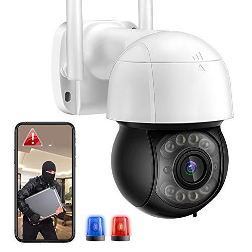 Cámara de Vigilancia de Seguridad Exteriores Full HD 3MP WiFi PTZ IP Cámara con Seguimiento Automático,HD Visión Nocturna,Impermeable,Audio bidireccional, Sonido de Alarma DIY 【3MP-WiFi-Cámara】
