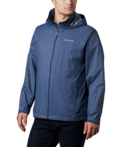 Columbia Men's Glennaker Lake Front-Zip Rain Jacket with Hideaway Hood, Blue (Dark Mountain), XX-Large