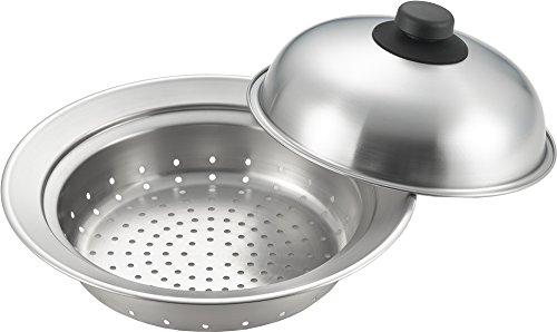 ヨシカワ 日本製 蒸し器 蒸し目皿 ドーム型 20~22cm鍋対応 お鍋にのせて簡単蒸しプレート YJ2302 シルバー