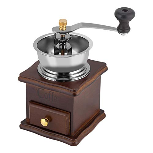 Coffee Grinder, Vintage Wooden Manual Coffee Grinder with Hand Crank Ceramic for Cold Brew, French Press, Drip Grind, Pour Over, Turkish Coffee and so forth.