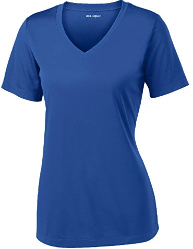 Women's Short Sleeve Moisture Wicking Athletic Shirt-Royal-2XL