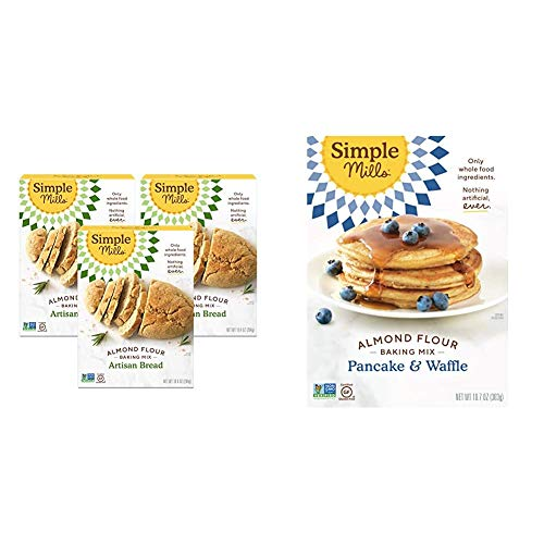 Simple Mills Almond Flour Baking Mix, Gluten Free Artisan Bread Mix, Made with whole foods, 3 Count & Almond Flour Pancake Mix & Waffle Mix, Gluten Free, Made with whole foods