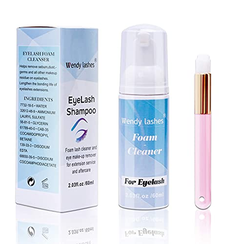Limpiador de Espuma Profesional de Pestañas 60ml Champú de Pestañas Para Extensiones De pestañas Espuma Suave Para Eliminar Residuos de Maquillaje de Aceite (60 ml)