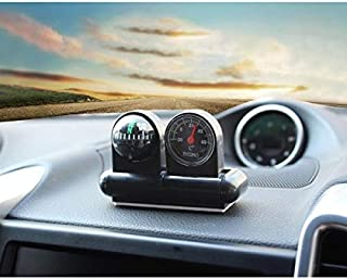 AutoTrends Car Adjustable Dashboard Compass Temperature Gauge with Adhesive Tape