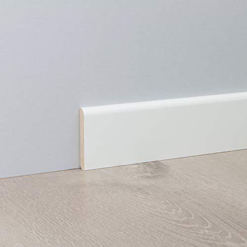 Sockelleiste Fußbodenleiste Standard aus MDF in Weiß 2600 x 10 x 60 mm