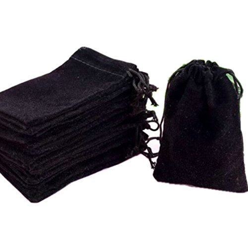 """HOSL 100 Pieces 3"""" x 4"""" Black Velvet Cloth Jewelry Pouch Jewelry Drawstring Bag Necklace Bracelet Earrings Bag Party Favor Bag Goodies Bag Candy Bag Gift Bag Watch bag Wedding Festival Baby Show Bag"""