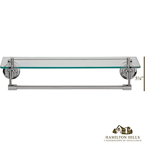 Classical Design Polished Chrome Glass Shelf | Premium Quality Stainless Steel Towel Shelf with Hanging Bar | Traditional Wall Mounted Fixture |  Bathroom Toiletries or Entrance Hall