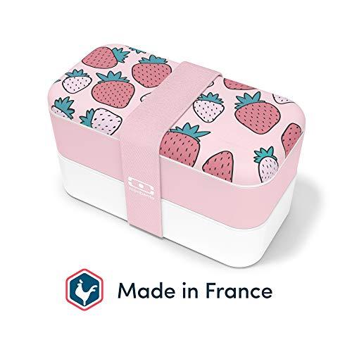 monbento - MB Original Graphic Strawberry Bento Box Made in France - Brotdose mit 2 Fächer - Lunch Box perfekt für Büro/Meal prep/Schule