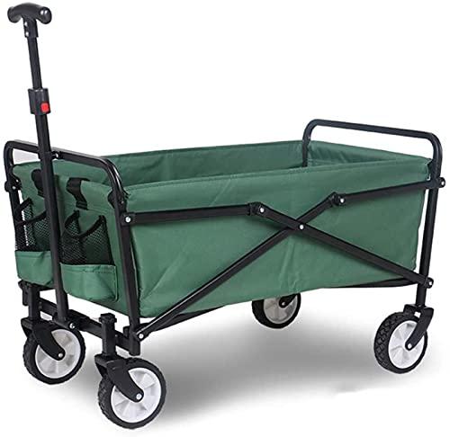 HLSH Carro Plegable Plegable para Uso en Exteriores, asa Ajustable, Carro de jardín Resistente con neumáticos de Goma y Bolsa de Transporte para Compras, Playa, Patio