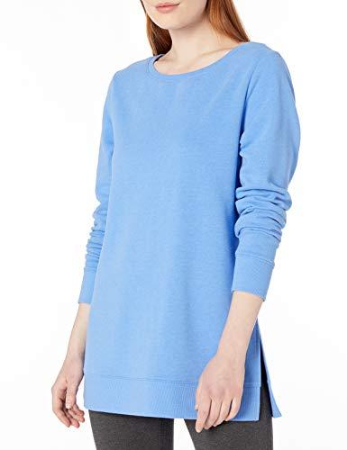 Amazon Essentials Women's Open-Neck French Terry Fleece Tunic, French Blue Heather, Medium