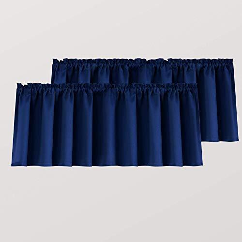 Navy Blue Window Valances for Kitchen 2 Pack Rod Pocket Blackout Light Blocking Thermal Insulated Dark Blue Valances for Living Room Boys Bedroom 52 x 18 Inch Length
