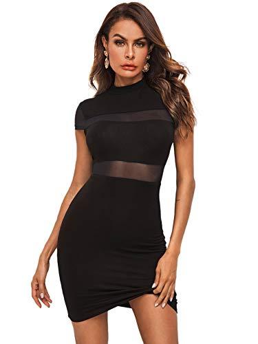 DIDK Damen Kleid Bodycon Kurz Kleider Minikleid Freizeitkeid Partykleid Figurbetontes Shortkleid mit Netzeinsatz Stehkragen Schwarz S