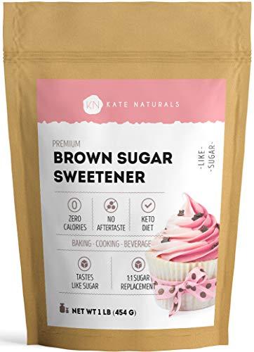 Brown Sugar Monk Fruit Erythritol Sweetener - Kate Naturals. 1:1 Sugar Substitute. For Low Carb Dieters & Diabetics. Non-GMO. Zero Calorie, Natural Sweetener. 1 Year Guarantee (1lb)