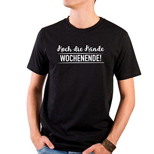 JUNIWORDS Herren T-Shirt mit rundem Ausschnitt -Hoch die Hände Wochenende! - große Auswahl an Motiven - Größe: S - Farbe: Schwarz