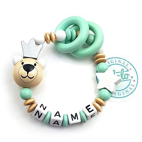 LALALO Premium Greifling mit Name, Teddy Bär + Krone, Holz Baby Rassel, Beißring, Lernspielzeug als Geschenk zur Geburt & Taufe (Mint Grün)