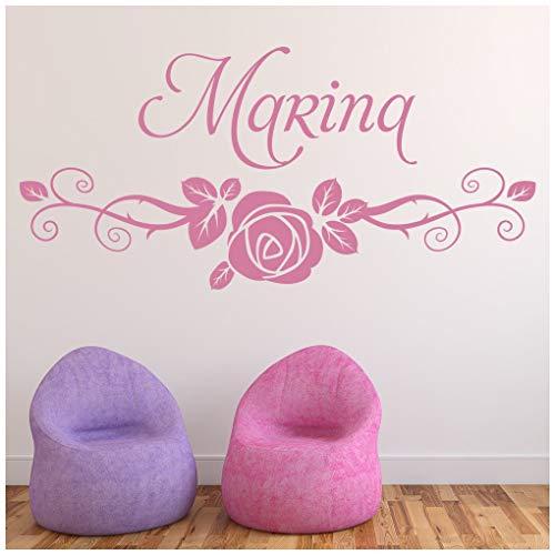 azutura Personalisierter Name Swirl Rose Wandtattoo verfügbar in 5 Größen und 25 Farben EIS Blau