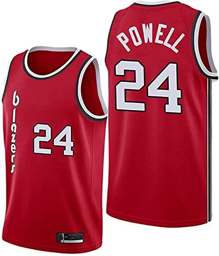 FEZBD Camisetas De Baloncesto Blazers # 24 Powell City Edition Jersey, Camiseta De Chaleco Transpirable De Poliéster, Jersey Jersey, Regalo para Fans,Rojo,S165~170cm