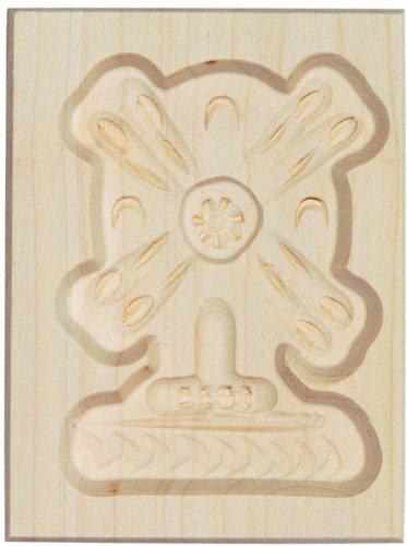 HOFMEISTER® Spekulatius-Form, 100% Made in Germany, plastikfrei backen, Motiv Mühle,Springerle-Formen fürKekse mit Motiv, Plätzchen-Ausstecher, Holz-Model-Backform,8cm, aus Holz