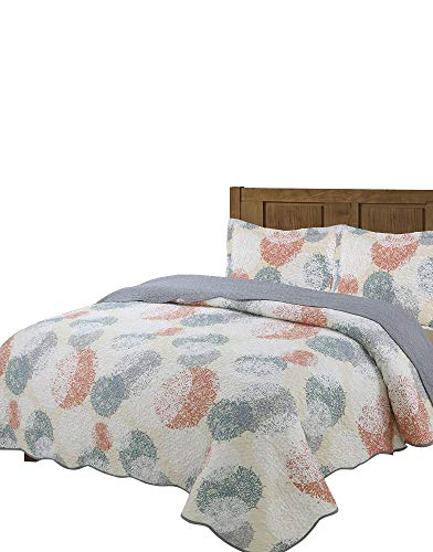 Vivinna Disperse Printing Quilt Set King Size -3PCS Bedspread -Lightweight Hypoallergenic Microfiber(King:106'x96', Gray)