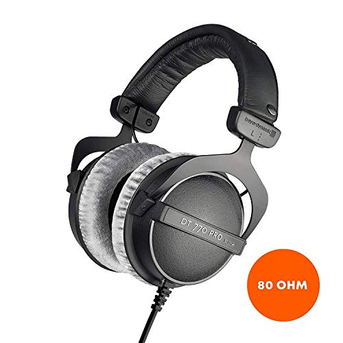 beyerdynamic DT 770 PRO 80 Ohm Over-Ear Studio Headphones in black. Enclosed design, wired for...