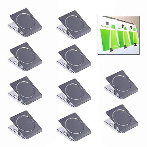 LHKJ 10 Imánes Nevera Clips magnéticos de Metal Imanes de la Cocina, Imanes de la Pizarra para la Escuela de la Oficina Casera (Plata)