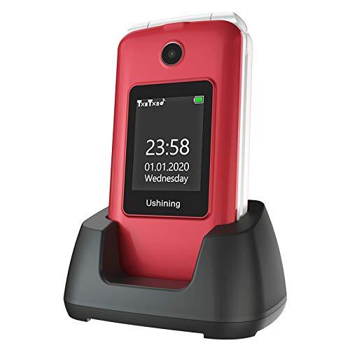 Telefono Movil para Mayores Teclas Grandes con Tapa Pantalla de 2,8 + 1,8 Pulgadas Tecla de Emergencia Botón SOS Cámara Fácil de Usar para Ancianos, Ukuu gsm Telefono Movil Rojo