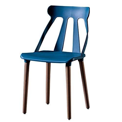 WSDSX Silla Sillas de Comedor de diseño Moderno Respaldo ergonómico Comedor Sillas de plástico para salón de Oficina Patas de Madera Maciza Natural Silla de Oficina 43x43x86cm (Color: Azul)