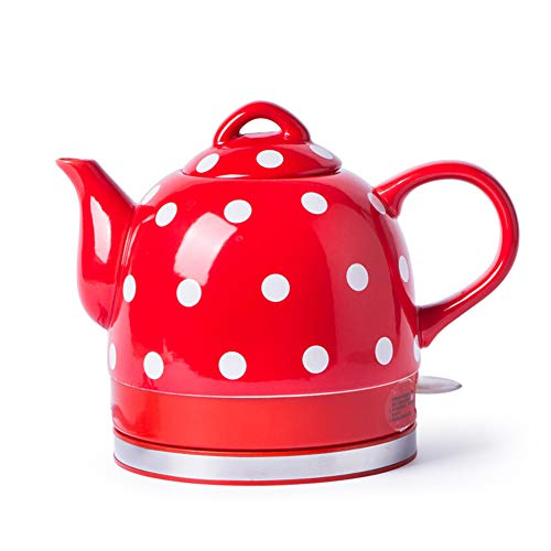GH&YY Keramik Wasserkocher Schnelle Heizung 1000W Roter Wasserkocher Elektrisch, 1L LED Kabelloser Wasserkocher, BPA-Frei