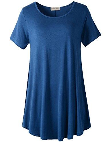 LARACE Women Short Sleeves Flare Tunic Tops for Leggings Flowy Shirt (L, Steel Blue)