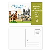城のヤシの赤道ギニア 詩のポストカードセットサンクスカード郵送側20個
