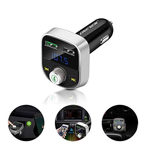 ONEVER FM Bluetooth Transmetteur, Chargeur Rapide Double Port USB, MP3 Lecteur de Musique de Voiture, Adaptateur Radio sans Fil dans la Voiture pour Ipad, Iphone, Samsung, Tablette. (Silver)