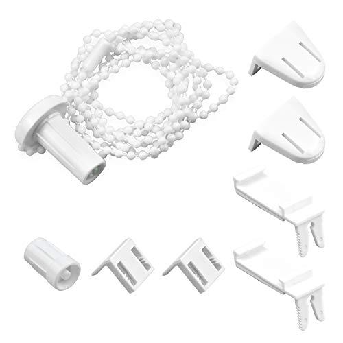 COCOCITY Montageset für Rollo mit 17 mm Rollowelle, Perlenkette (1,8m) Klemmrollo Ersatzteil Befestigungsklammern Set für Fenster ohne Bohren inkl. Klebepads