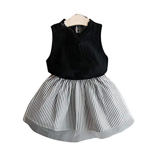 Weant Baby Kleidung Mädchen Outfits Trägerlos Tops + Streifen Mesh Röcke Prinzessin Partykleid Sommerkleid Prinzessin Kleid Kinder Kleider Baby Bekleidungssets Neugeborenen Bekleidungset 0-6 Monate