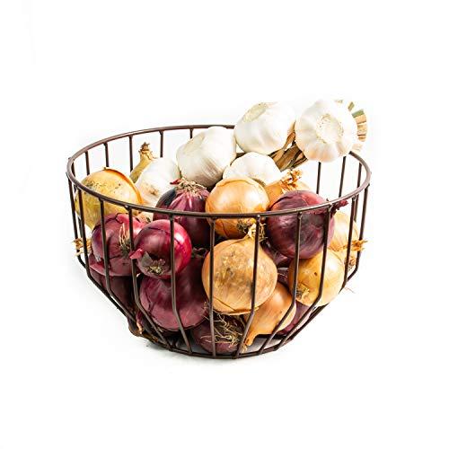 Obstschale mit Metallrahmen | Skandinavische Deko oder Industrie-Deko | Auch verwendbar als Schale für Eier, Kartoffeln, als Schwenkschale, Korb für Gästehandtücher, Dekoschale oder Aufbewahrungskorb