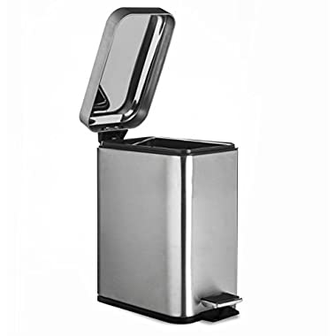 AMG and Enchante Accessories, Rectangular Waste Bin, 5L Garbage Trash Can with Step Foot Pedal, WB01B BNI, Brushed Nickel