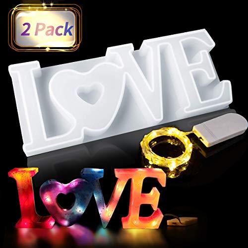 Jeteven Gießform LOVE 3D Silikonform Kerzenformen Kristallform Epoxidharz Form mit Led Lichterkette Harzform Für Handwerk, DIY Tischdekoration, Hochzeit, Valentinstag Geschenke