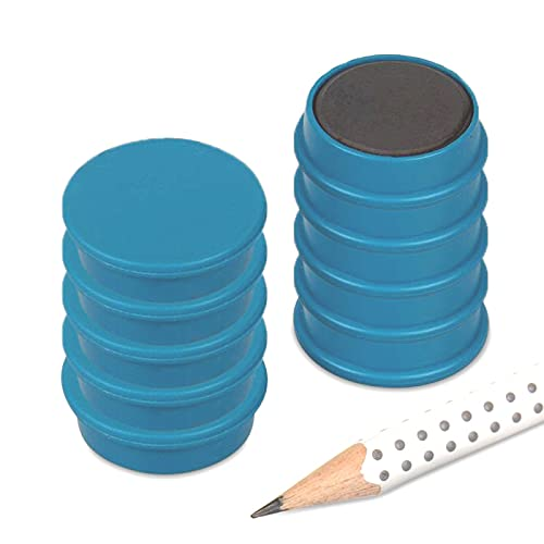 magnets4you - Lote de 10 imanes de pared (25 x 8 mm, soporta 700 g, ferrita, para pizarra, nevera, oficina, escuela, pizarra, 10 unidades), color turquesa