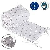 Paracolpi lettino 4 lati imbottito - paracolpi Culla neonato per Letto Bebè in cotone Bianco con stelle grigie 210 cm