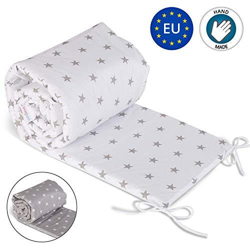 Nestchen Babybett 70x140 umrandungen - baby-bettumrandung Bettnestchen für Kinderbett Beistellbett Gitterbett umrandung 210 x 30 cm Weiß