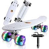 Cutemelo Skateboards 55cm Mini Cruiser Skateboard Completo retrò per Ragazzo, Ragazza, Giovani, Adulti, Principianti con Ruote LED Lampeggianti, con Strumento T (Bianca)
