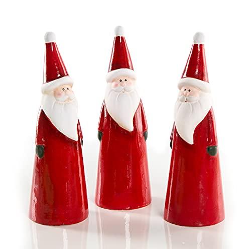 Logbuch-Verlag 3 figuras de Papá Noel de cerámica rojo y blanco – Papá...