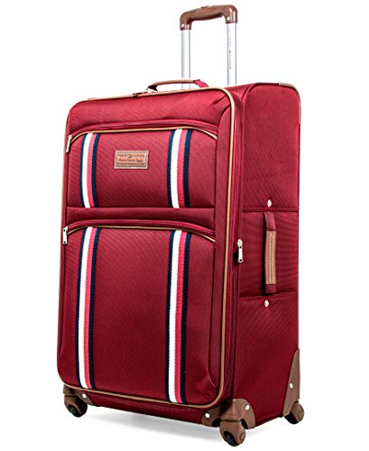 Tommy Hilfiger Scout 5.0 Softside Expandable Spinner Luggage, Red, 28 Inch