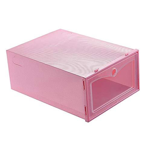 MagiDeal Caja de Almacenamiento de Zapatos Apilable, Organizador de Zapatos de Plástico Transparente Plegable, Necesita Ser Ensamblado - Rosado, Individual
