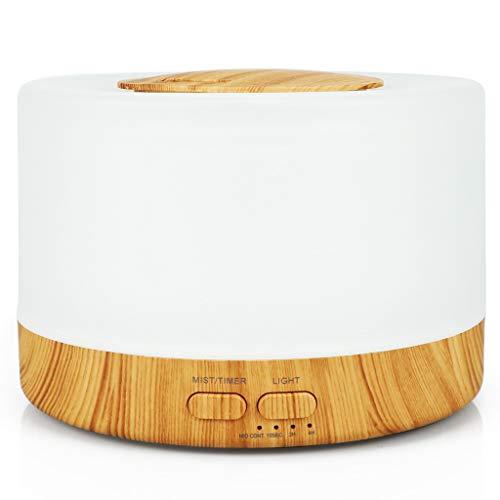 Difusor Aromaterapia,STRIR 500ml Difusor Humidificador Aceites Esenciales de Madera Para Habitación Grande con Modo De Vapor Ajustable, 4 Configuraciones de Temporizador y 8 Luces de Colores