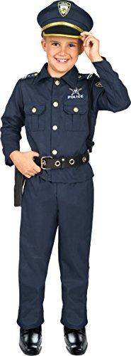 Kangaroo's Deluxe Boys Police Costume for Kids, Blue, Small 4-6