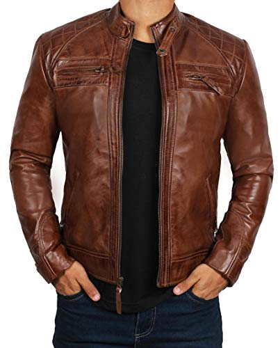 BlingSoul Mens Leather Jacket Brown | [1100083] Johnson Real Brown, M