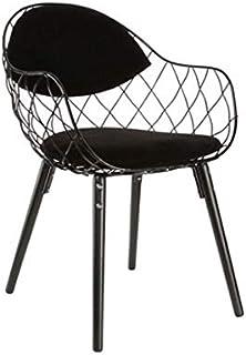YUTRD ZCJUX Wire Chair Minimalista diseño Moderno del Metal del Acero con Madera Maciza Pata de Base del diseño Moderno Mu...