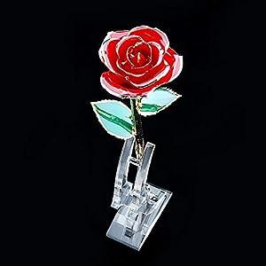 gold rose display stand, rose stand for single real roses transparent holder flower transparent base rose shelf support for 24k gold dipped long stem flower vase, 4.72 x 1.58 x 7.5inch silk flower arrangements