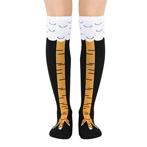 Wollaston Calcetines altos para mujer Crazy Funny Chicken Leg Cluck, transpirables, para fitness, regalo, para mujeres, divertidos, pollos, piernas altas, transpirables, para fitness, regalo