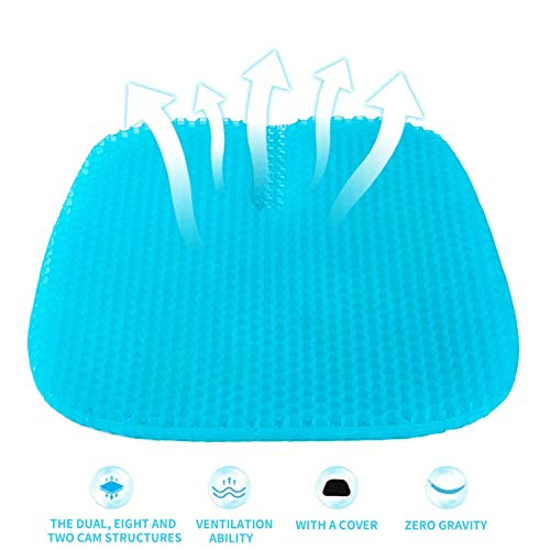 Large Gel Seat Cushion, Super Breathable Honeycomb Design Comfort Support For Lower Back, Spine, Hips, Multi-Use Seat Cushion with 1 Non-Slip Cover, Perfect for Car, Office Chair, Wheelchair, Home